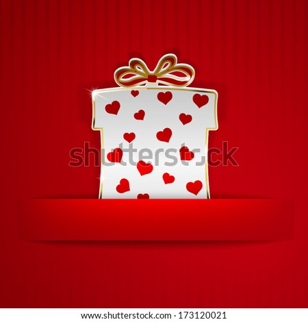 Gift box cut out of white paper with red hearts on red striped background - stock vector