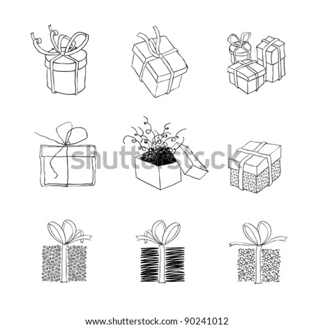 Gift box for xmas designs. Set of nine illustrations.Vector, EPS8 - stock vector