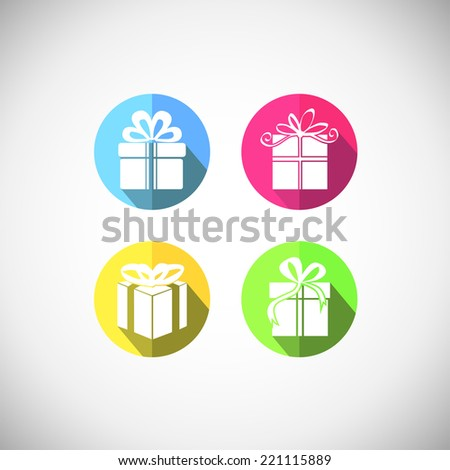 Gift  box  icon. Interface mobile applications. Happy New Year and Merry Christmas  - stock vector
