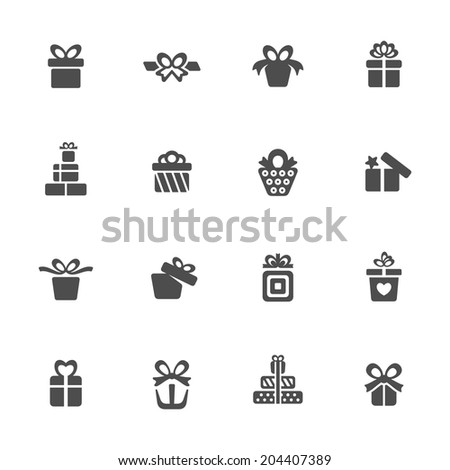 Gift box icon set - stock vector