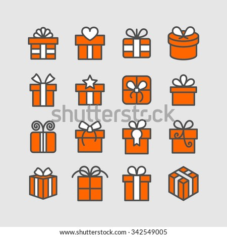 Gift box icons / Birthday gift / Present icons / Holiday gift / Christmas gift / Surprise icons / Present collection / Gift pictogram - stock vector