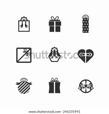 Gift box icons - Element surprise gift boxes icon set on white background. Vector illustration EPS10. - stock vector