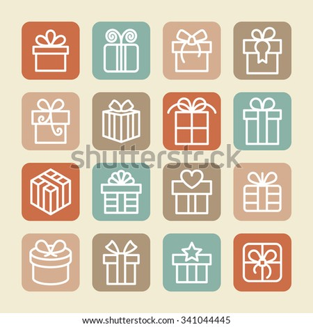 Gift box icons / Gift icons / Present icons / Holiday gift icons / Christmas icons / Celebration gift icons / Gift collection icons / Decoration icons / Celebrate icons / Gift pictogram / New year - stock vector