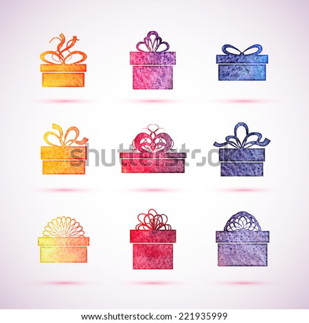 Gift box icons, holiday presents, vector illustration - stock vector