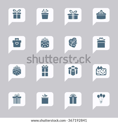 Gift box icons. Present icons. Birthday gift icons - stock vector