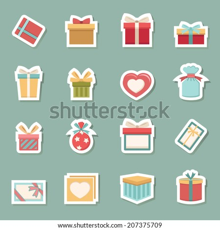 gift box icons vector eps10 - stock vector