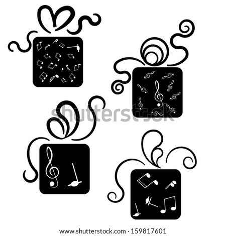 Gift box icons with treble clef and notes - stock vector