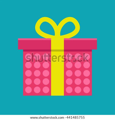 Gift box in dots pattern with ribbon vector icon. - stock vector