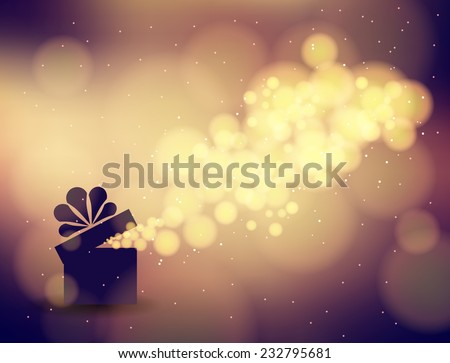 Gift box in the background bokeh. Vector illustration  for the holidays - stock vector
