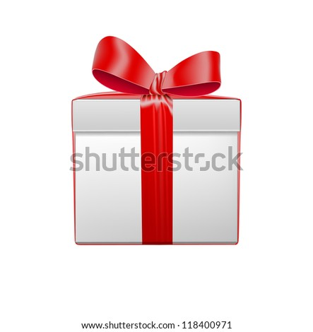 Gift box, isolated on white. Vector illustration. - stock vector
