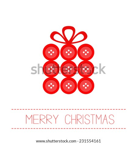Gift box made from red buttons. Appligue Dash line Merry Christmas card Flat design Vector illustration - stock vector
