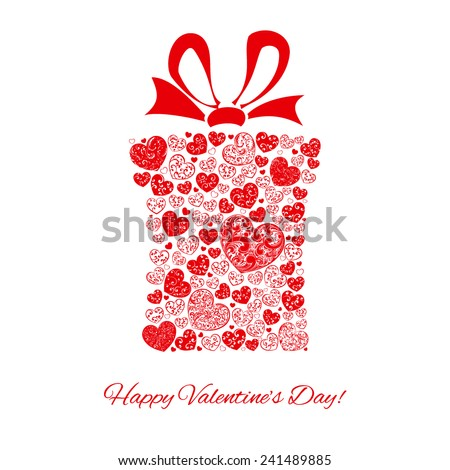 Gift box made of many hearts for Valentines Day, red on white - stock vector