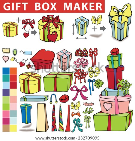 Gift box maker,constructor.Set of colorful gift boxes with label,tag. Hand drawing style.You can quickly make a box,bag.Easy to edit.Doodle Holiday Vector illustration.  - stock vector