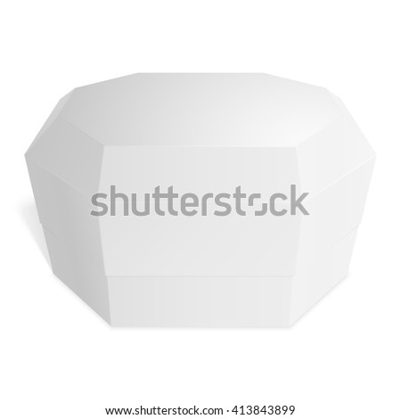 Gift box octagonal, candy, gifts or food. Template for your design. Isolated on white background.