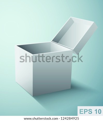Gift box packaging. White vector illustration