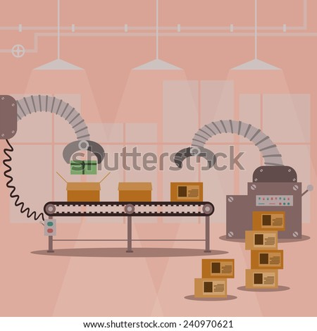 Gift box production factory machine. Vector illustration design. - stock vector