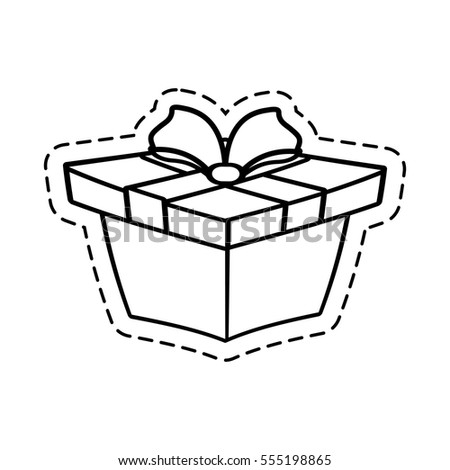 gift box ribbon wrapped cut line vector illustration eps 10