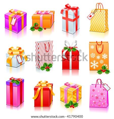 Gift box set - stock vector