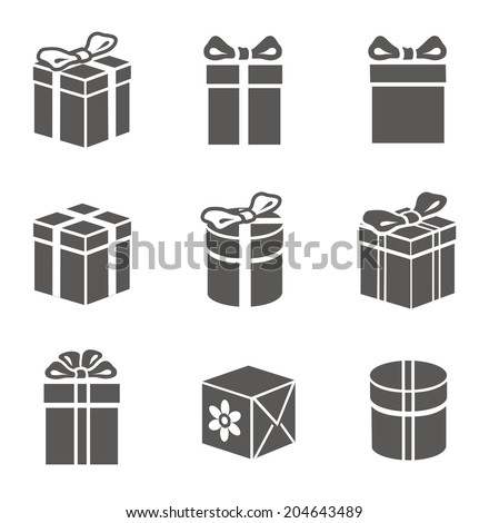 Gift box set on white vector - stock vector
