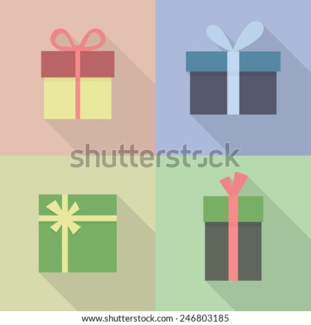 Gift box sign icon. Present symbol. Flat modern design with long shadow. Vector illustration, eps 8. - stock vector