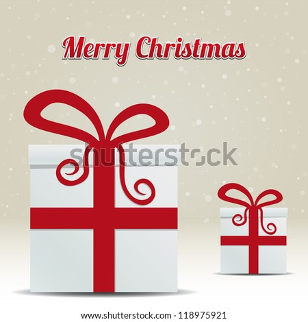gift box snowy winter background merry christmas - stock vector