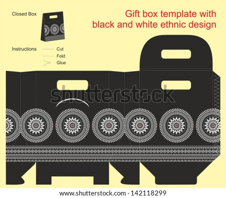 Gift box template with black and white ethnic design - stock vector