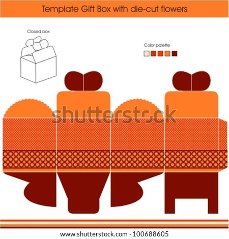 Gift box template with dots design - stock vector