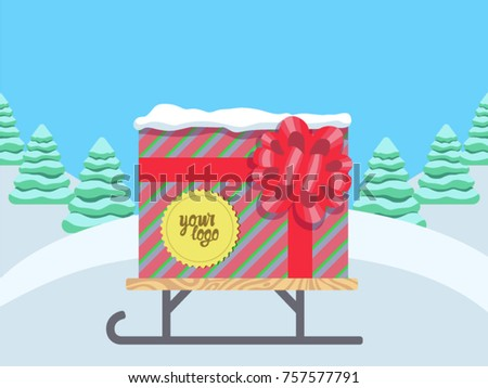 Gift Box Template Your Logo Corporate Stock Vector 757577791