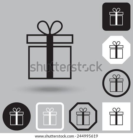 Gift box vector icon. - stock vector