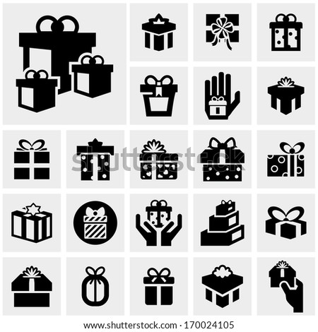 Gift box vector icons set on gray - stock vector