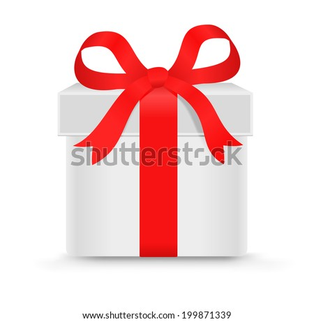 Gift box with a bow isolated on the white - stock vector