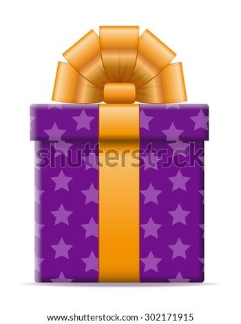 gift box with a bow vector illustration isolated on white background - stock vector