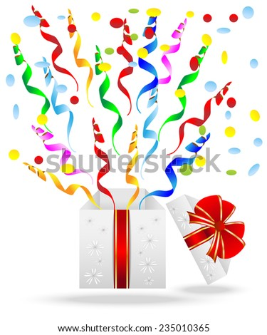 gift box with a bright serpentine,vector illustration