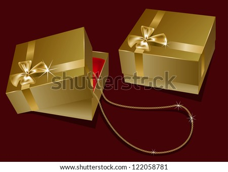 gift box with a chain - stock vector