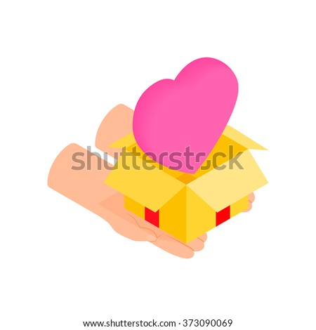Gift box with a pink heart isometric 3d icon on a white background - stock vector