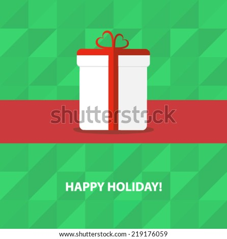 gift box with a ribbon - holiday poster - stock vector