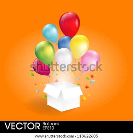 gift box with balloons - stock vector