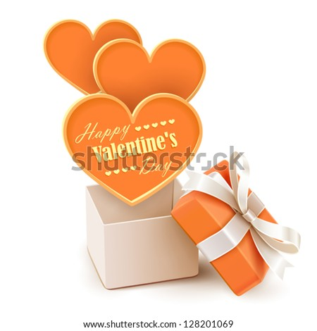 Gift box with big hearts - stock vector