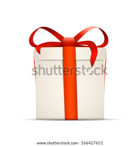 gift box with bow vector illustration isolated on white background - stock vector