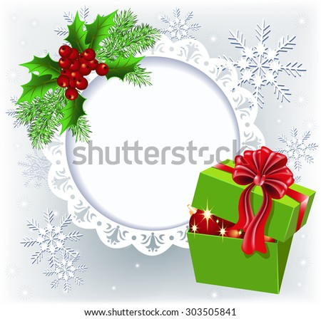 Gift box with Christmas decoration round frame for text or photo - stock vector