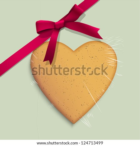 Gift box with cookie of heart shaped tied pink ribbon. Vector illustration