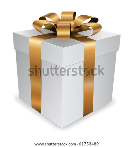 gift box with golden bow - stock vector