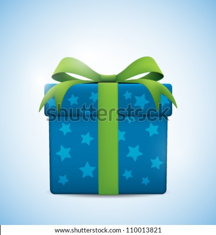 Gift box with green bow and light - stock vector