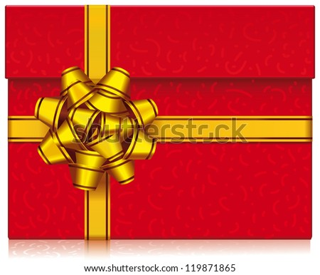 Gift box with lid wrapped in a gold ribbon. - stock vector