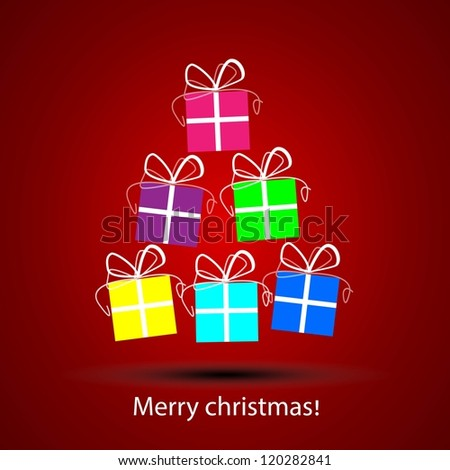 Gift box with painted white lines. For making Christmas cards. - stock vector