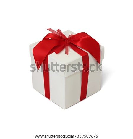 Gift box with red ribbon and bow isolated on white background. Vector illustration. - stock vector