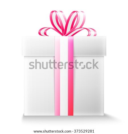 Gift box with ribbon and bow. - stock vector