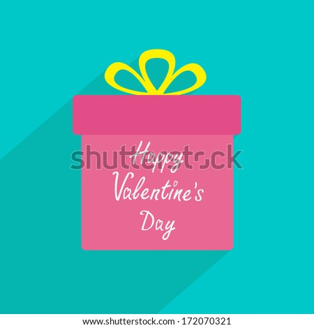 Gift box with ribbon and bow. Flat design with long shadow. Happy Valentines Day card. Vector illustration. - stock vector
