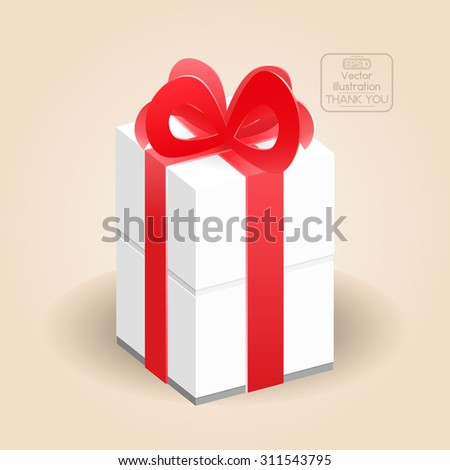 Gift box with ribbon and red bow. Vector illustration. - stock vector