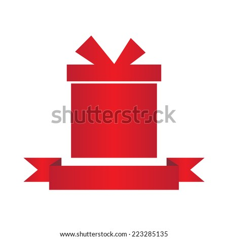 Gift box with ribbon. flat design. banners, graphic or website layout template. red - stock vector